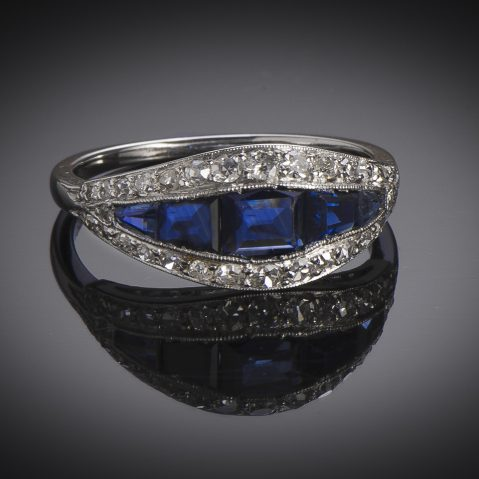 Art Deco diamond sapphires ring