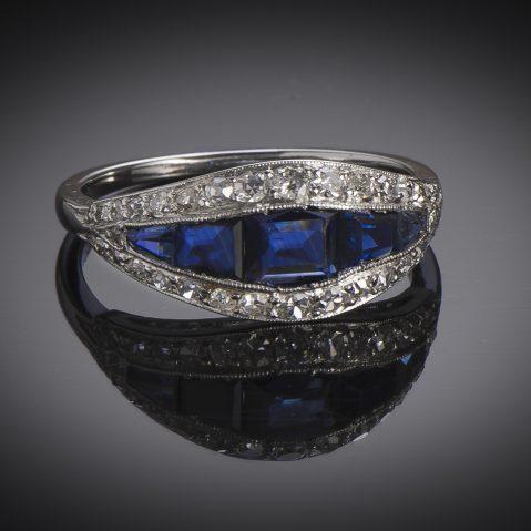 Art Deco diamond sapphires ring