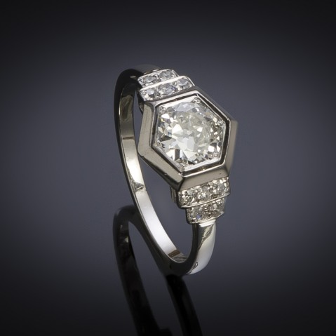 French Art deco diamond ring (circa 1930)