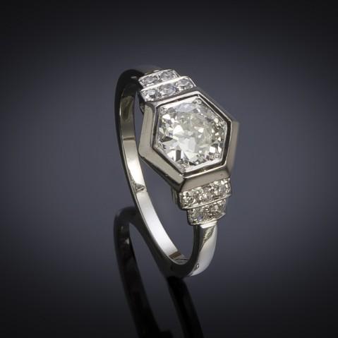 French Art deco diamond ring (circa 1930)