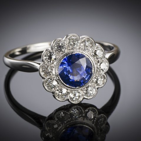 French sapphire and diamond ring circa 1930