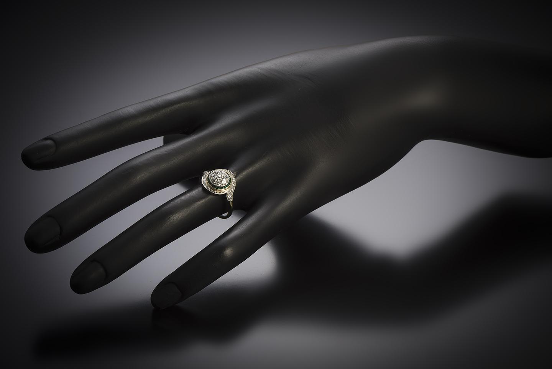 Antique French tourbillon diamond ring-2