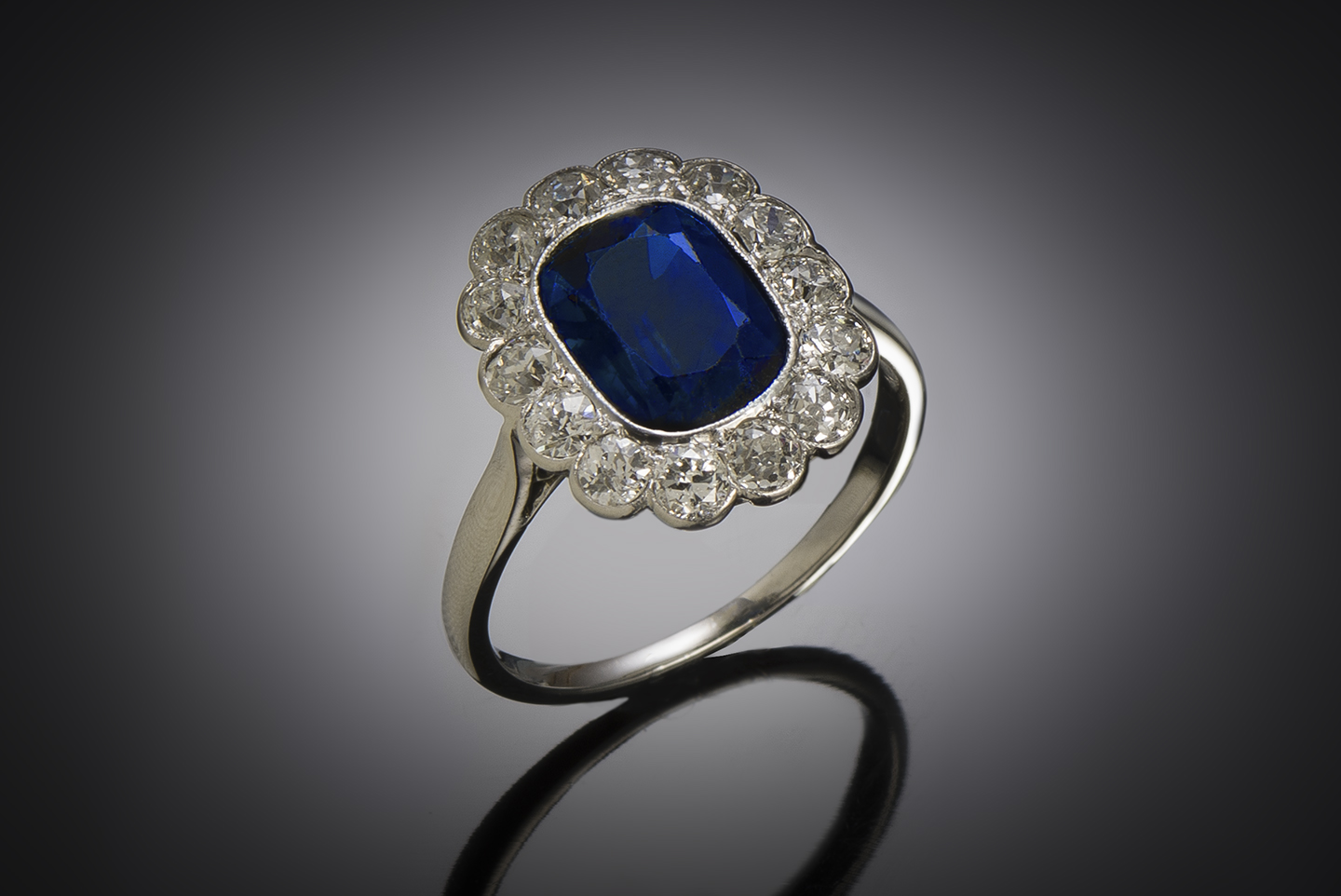 French Art Deco natural sapphire and diamond ring-1