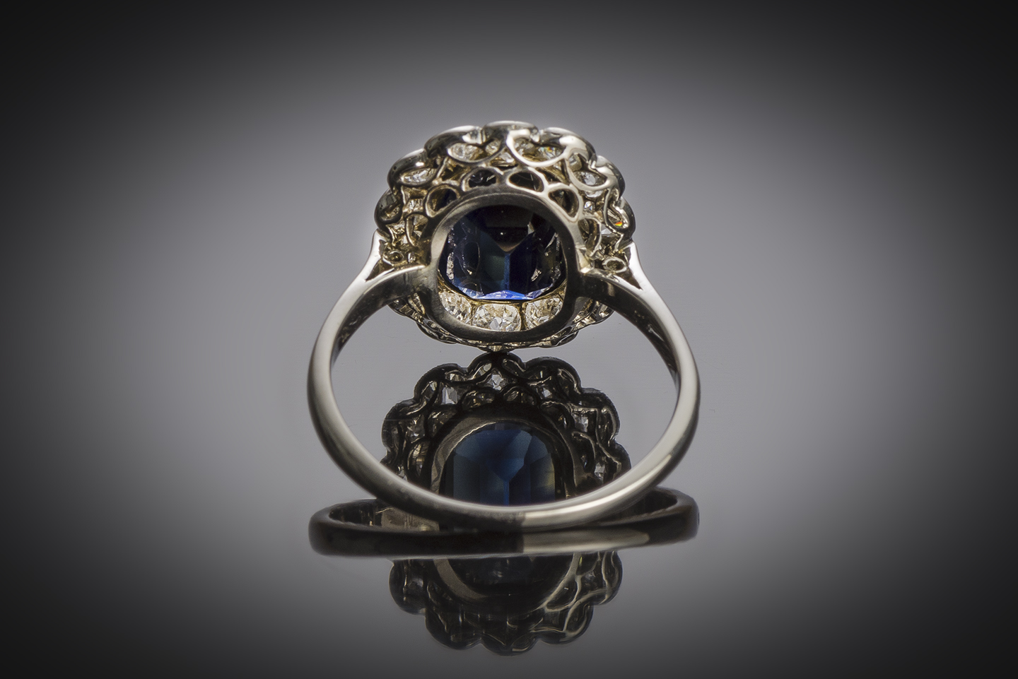 French Art Deco natural sapphire and diamond ring-2