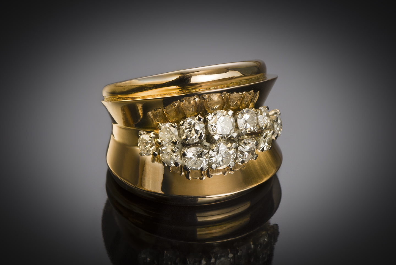French diamond (1.10 carat) ring circa 1940 – 1950-2