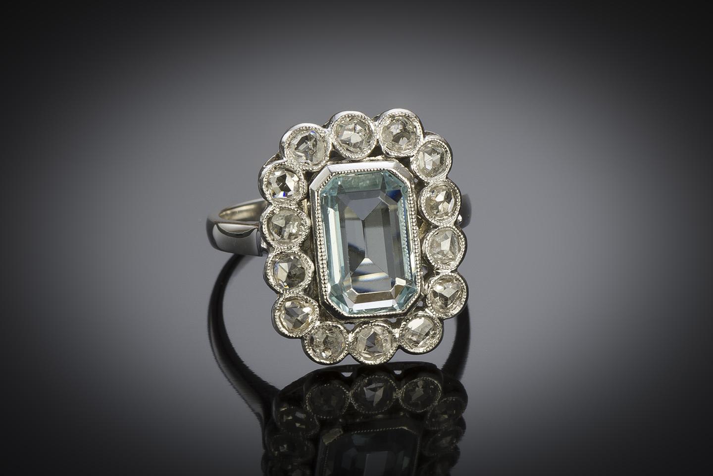 French Art Déco aquamarine diamond ring-2
