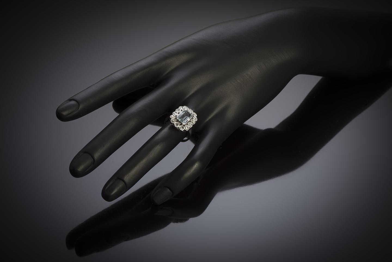 French Art Déco aquamarine diamond ring-4