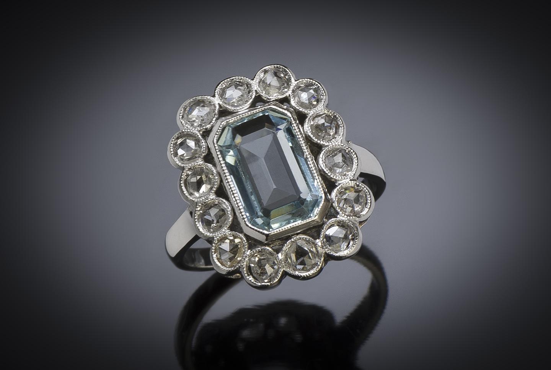 French Art Déco aquamarine diamond ring-1