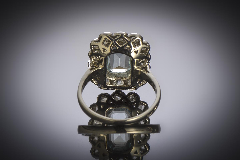 French Art Déco aquamarine diamond ring-3