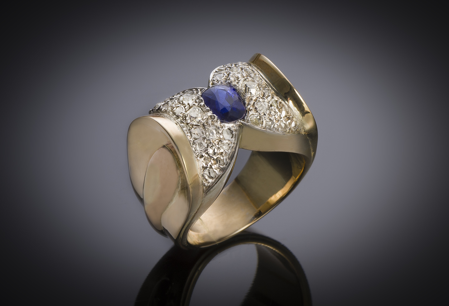 French ring circa 1940 natural sapphire and diamond-1