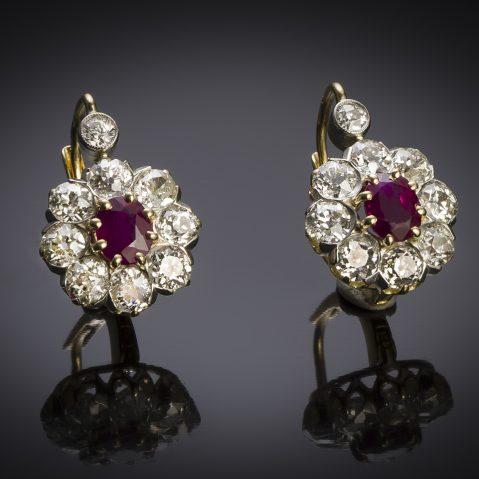 A nineteenth century French diamond earrings late 19th Burmese ruby (1.30 carat) diamonds (1.70 carat)