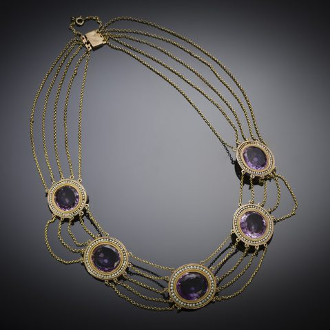 French amethyst and pearl necklace (19th century)
