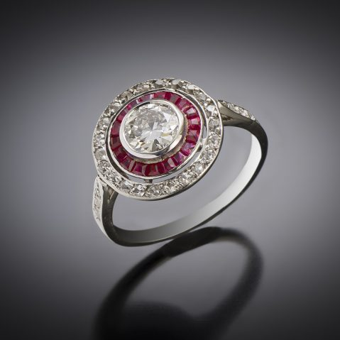 French Art Deco diamond ring (0.80 carat center) and ruby