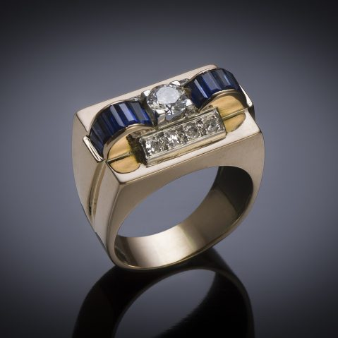 French diamond and sapphire ring circa 1940
