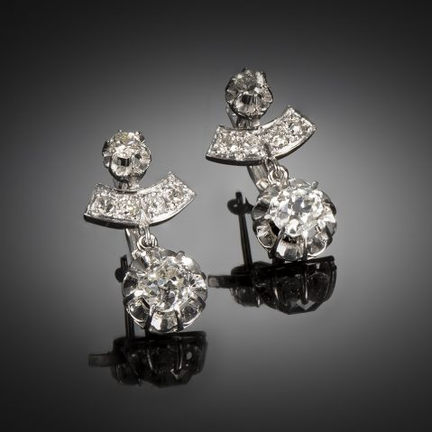 French diamond earrings (2 carats) Art Deco