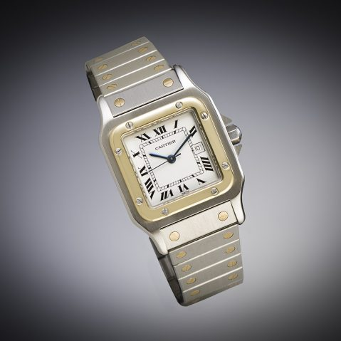 Cartier Santos gold and steel automatic watch