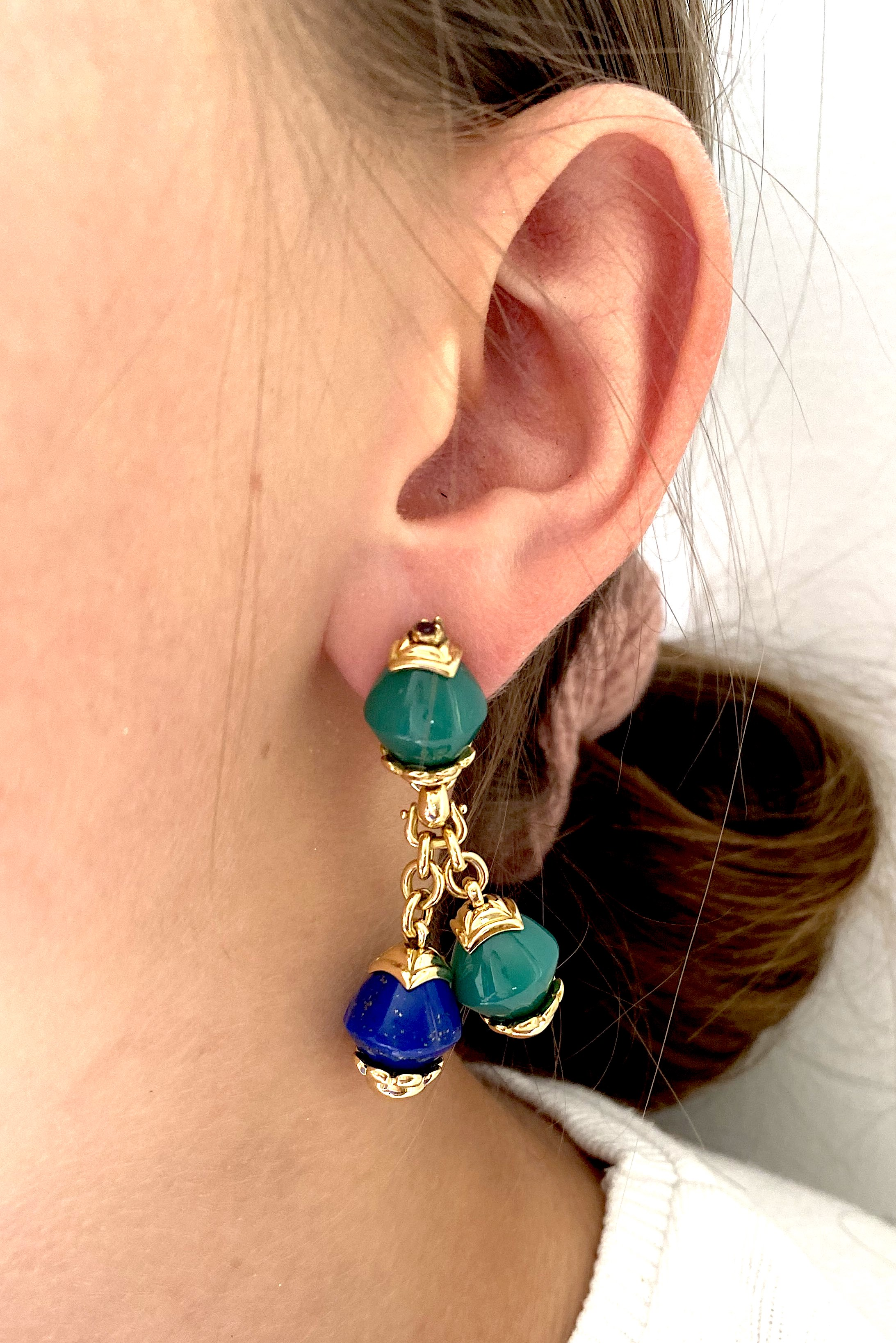 French vintage lapis-Lazuli, chrysoprase and ruby FRED earrings-2