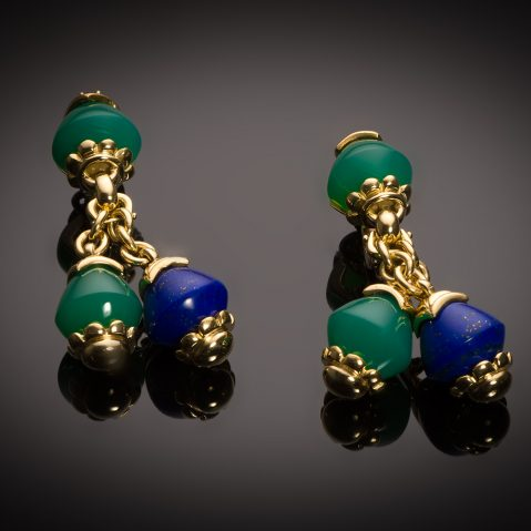 French vintage lapis-Lazuli, chrysoprase and ruby FRED earrings
