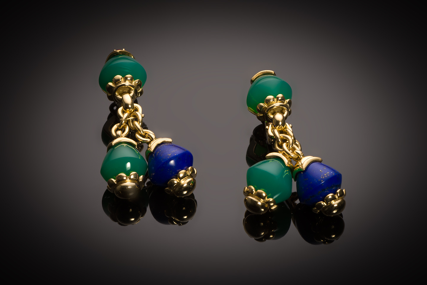 French vintage lapis-Lazuli, chrysoprase and ruby FRED earrings-1