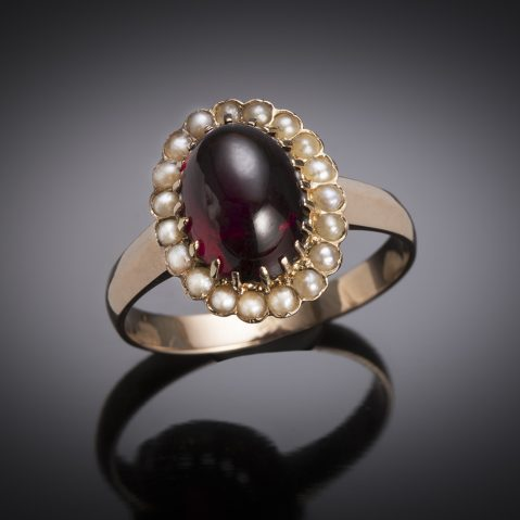 French Garnet and pearl ring, 19th century