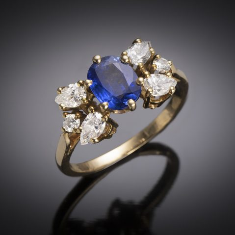 French vintage sapphire diamond ring