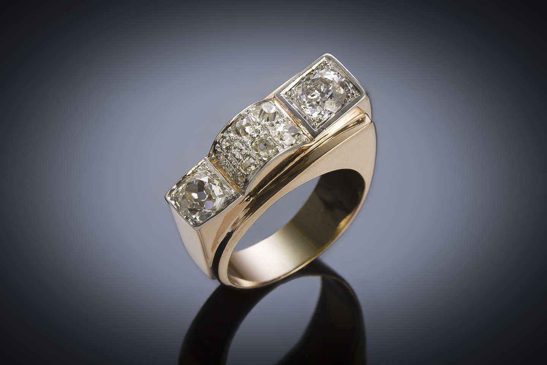 French ring circa 1940 diamonds (1.60 carat, main 0.80 carat)-1