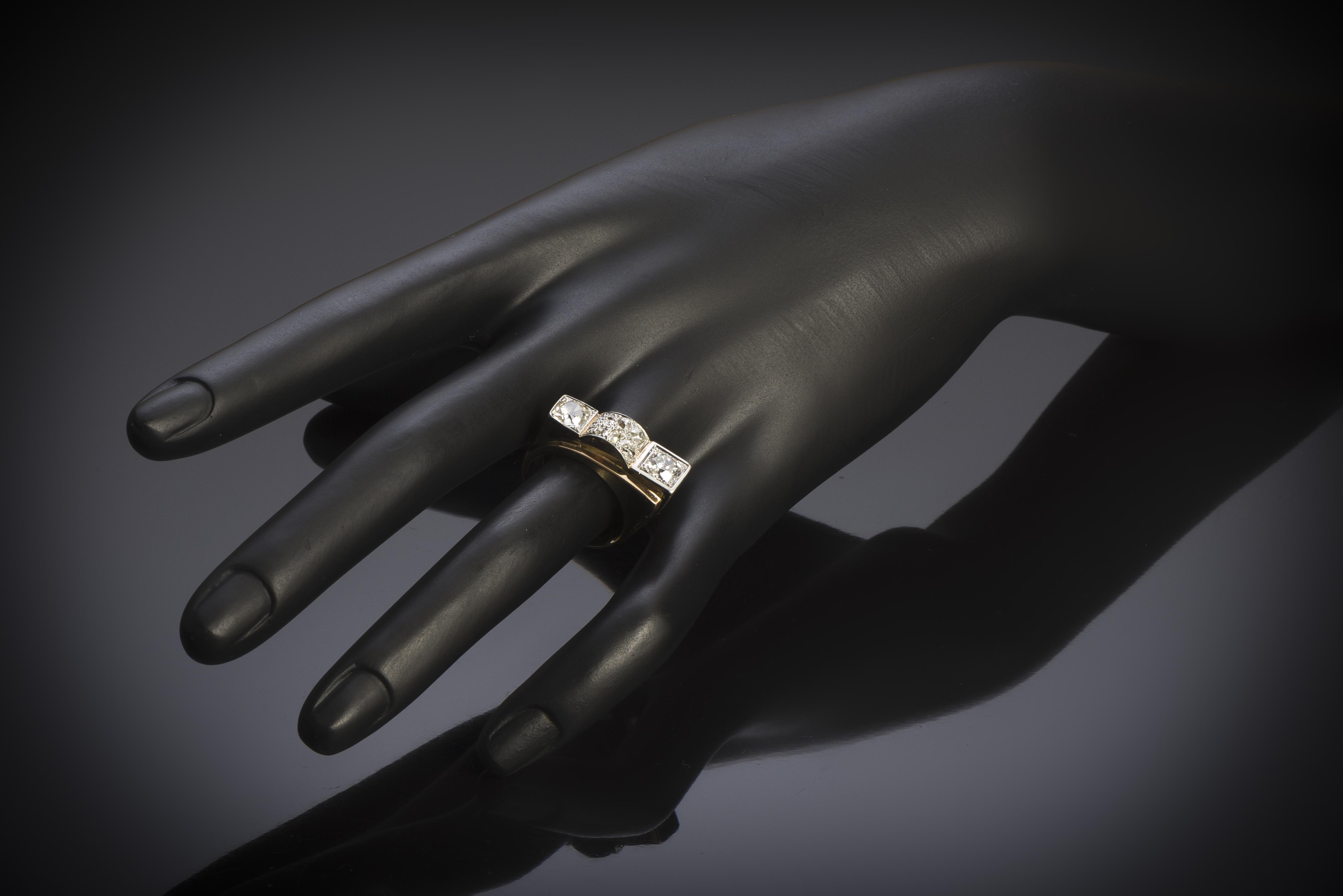 French ring circa 1940 diamonds (1.60 carat, main 0.80 carat)-2