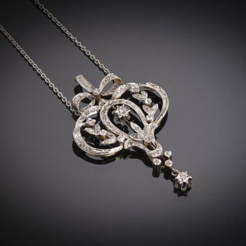 French Belle Epoque diamond pendant