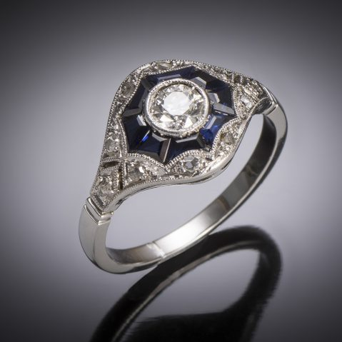 French Art Deco diamond and sapphire ring in platinum and gold