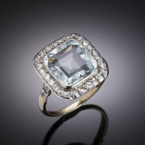 Aquamarine diamond ring early 20th century