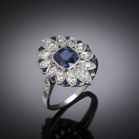 French Art deco natural sapphire, calibrated sapphires and diamonds ring
