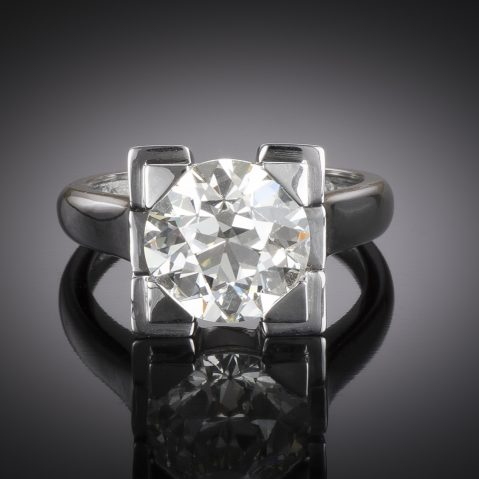 French Art déco diamond ring 4.03 carats (HRD certificate)