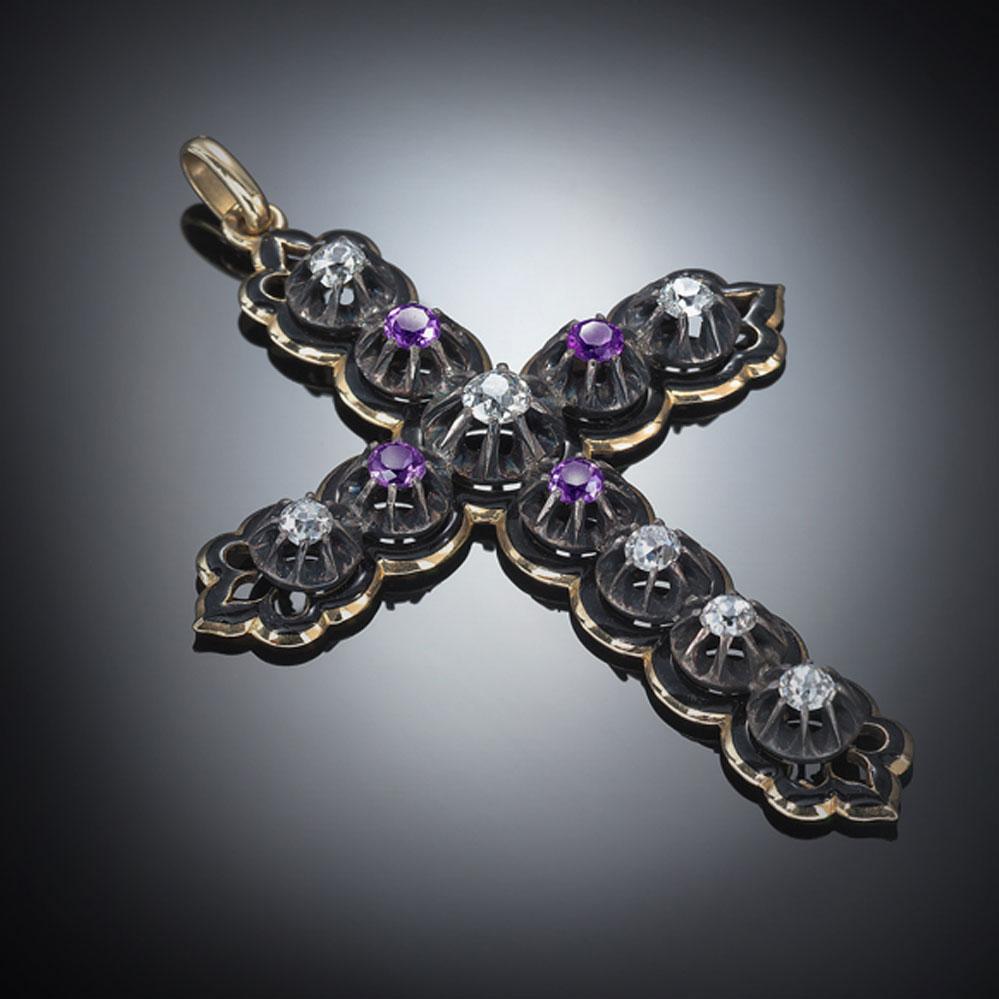 Croix émaillée diamants améthystes Louis Philippe Ier (1830 – 1848)-1