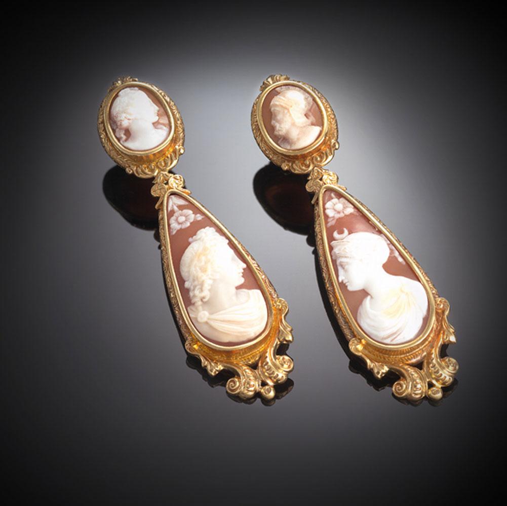 Pendants d'oreilles camées Louis Philippe Ier (1830 – 1848)-1