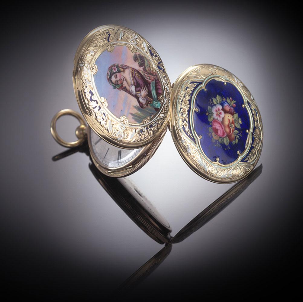Montre savonnette 2 faces émaillées Charles X (vers 1824 – 1830)-1
