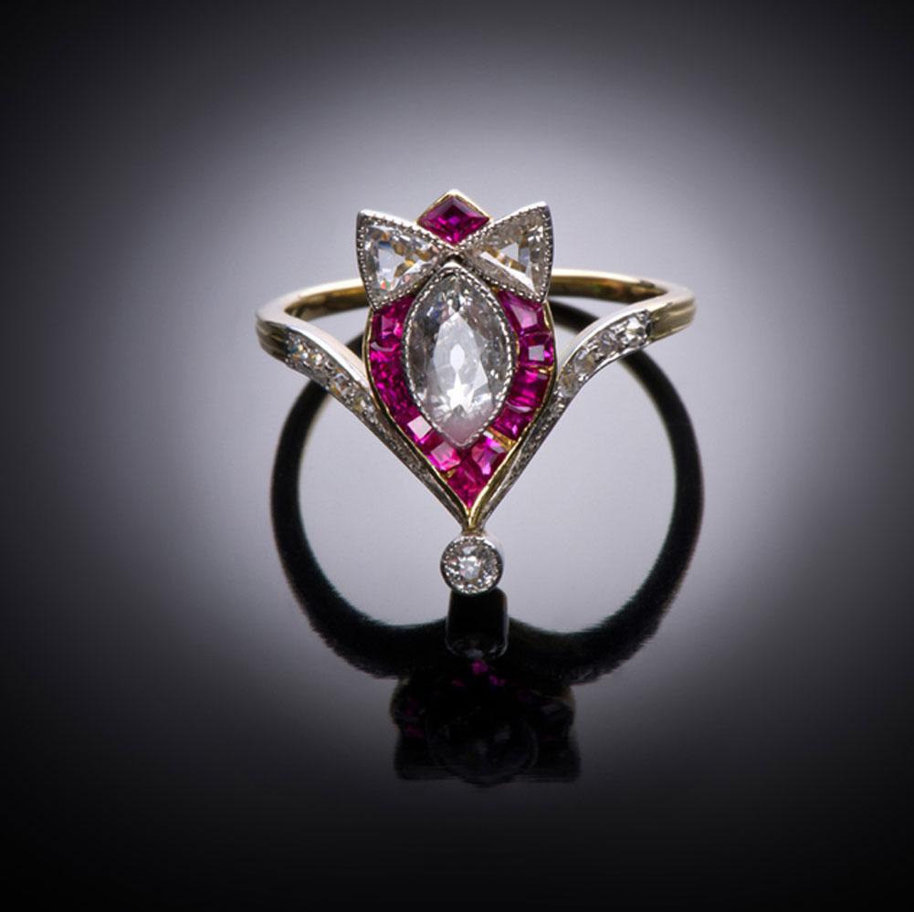 Bague diamants rubis calibrés début XXe siècle (vers 1900)-1