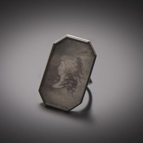 Bague portrait Mine de plomb sur velin (XVIIIe siècle)