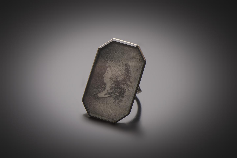 Bague portrait Mine de plomb sur velin (XVIIIe siècle)-1