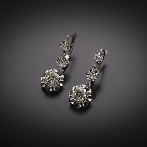 Pendants d'oreilles diamants 1,80 carat vers 1930