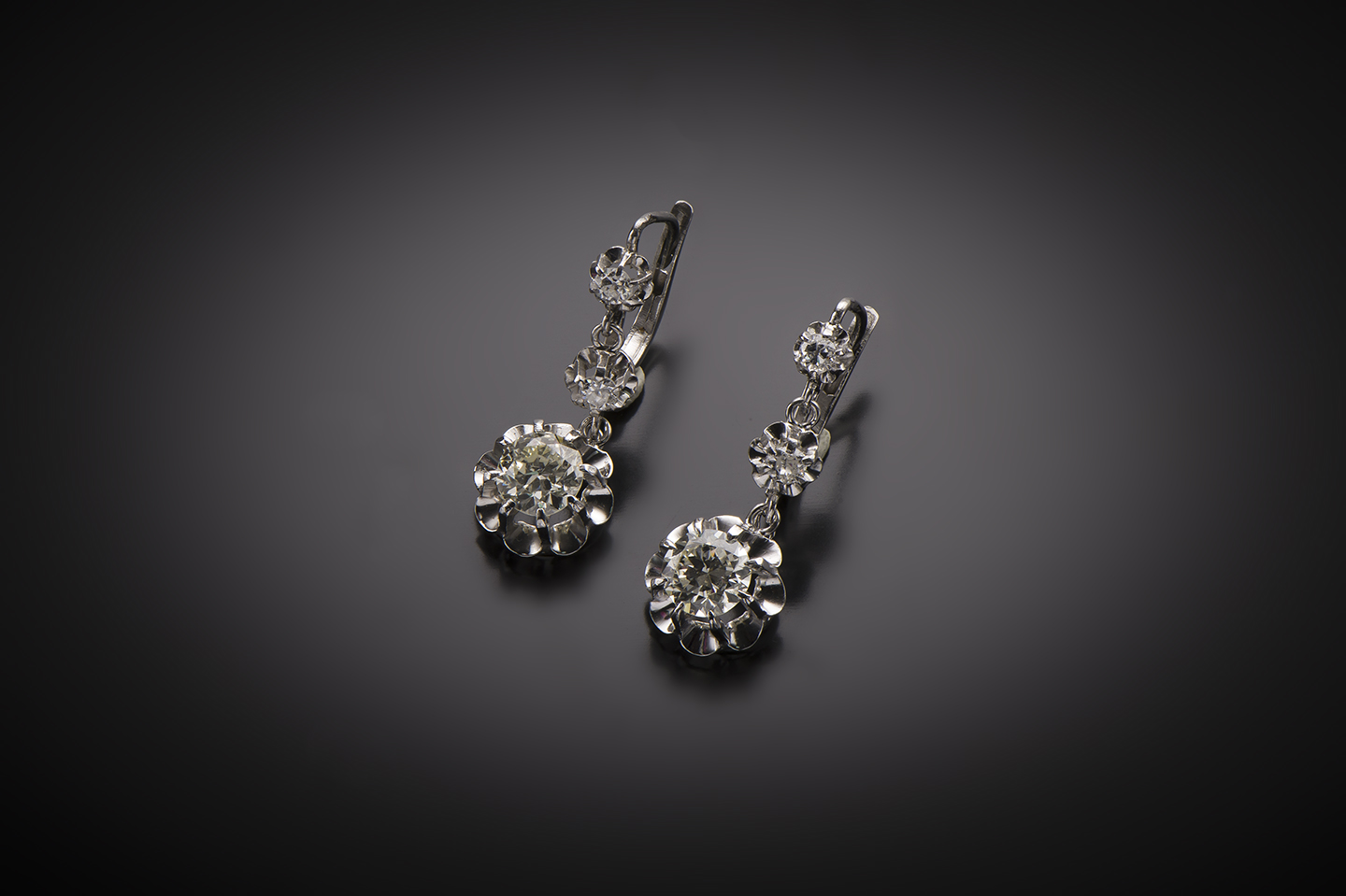 Pendants d'oreilles diamants 1,80 carat vers 1930-1