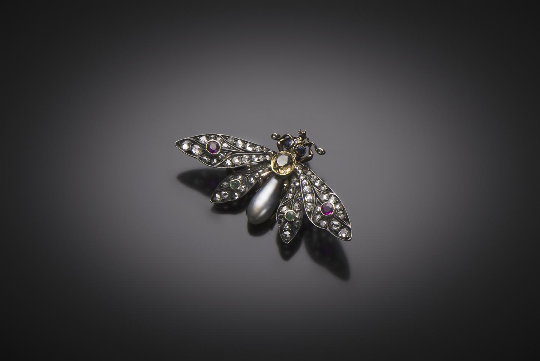 Broche insecte perle fine (certificat du LFG) diamants rubis émeraudes citrine Napoléon III (1851 – 1871)-1