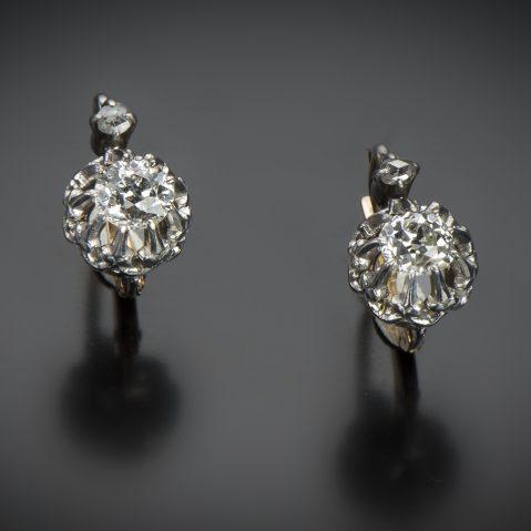 Boucles d'oreilles diamants 1,40 carat vers 1900