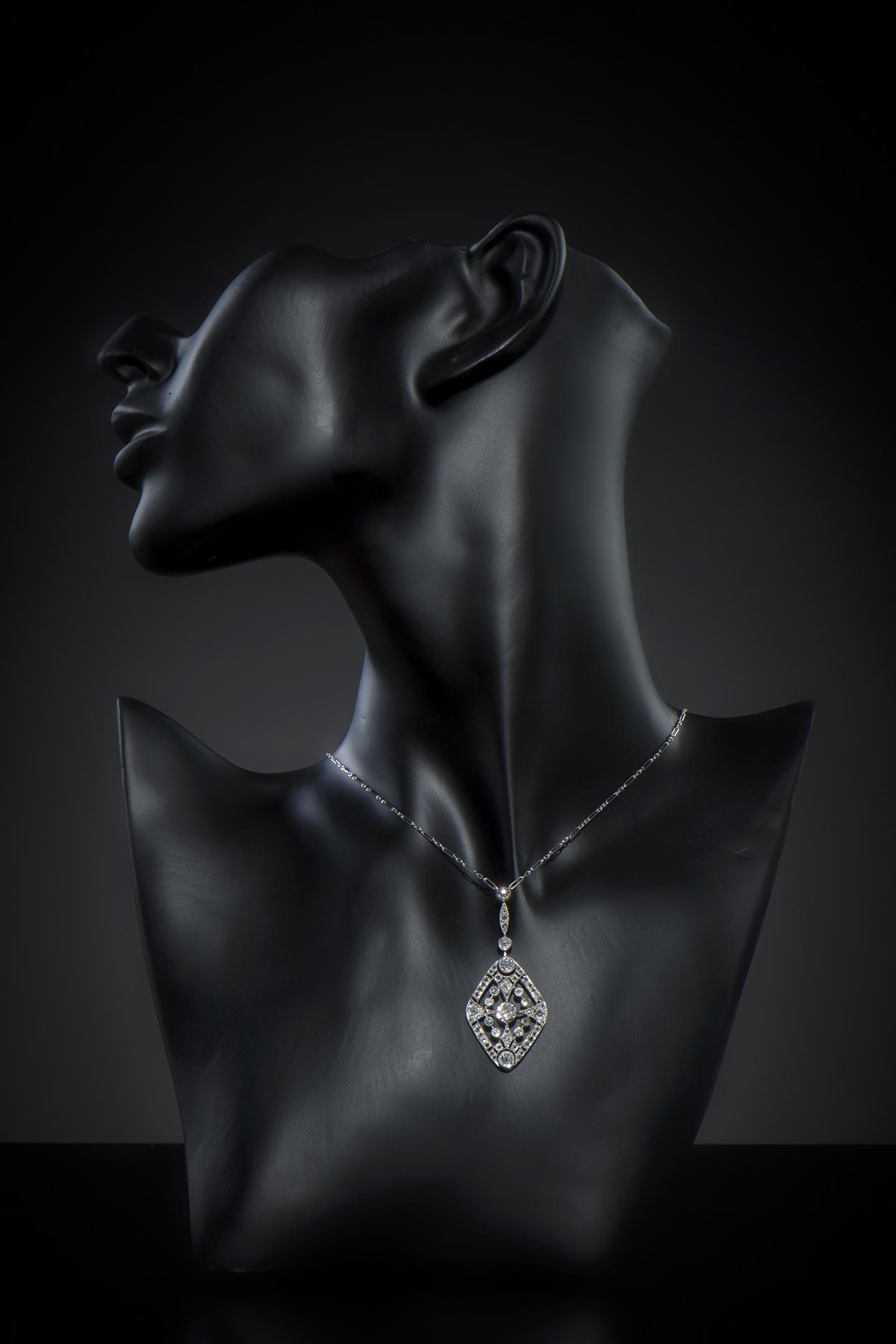 Pendentif diamants Art Déco (vers 1930)-2