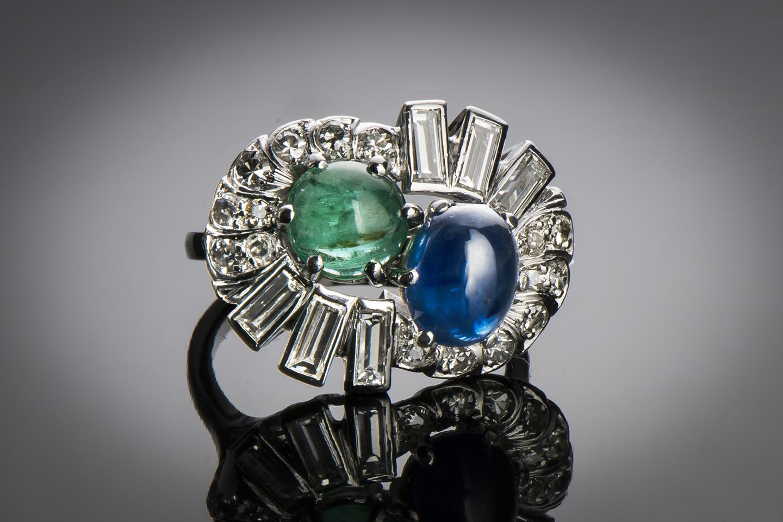 Bague saphir émeraude diamants (vers 1950)-1