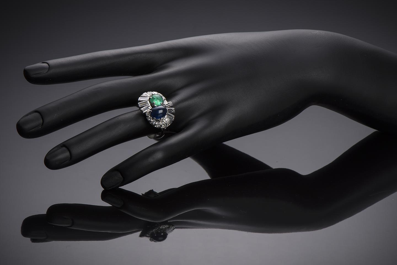 Bague saphir émeraude diamants (vers 1950)-2