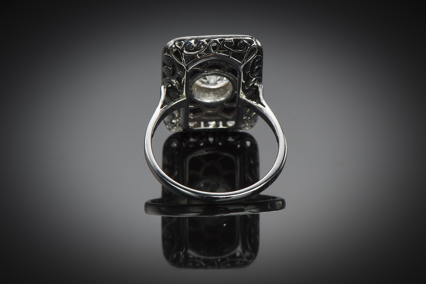 Bague Art Déco diamants (centre 1,40 carat) onyx-2