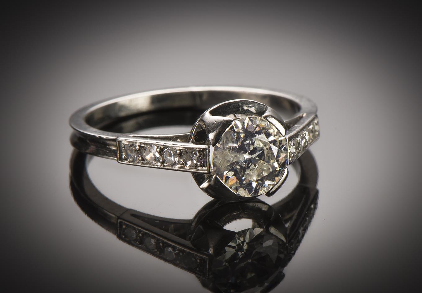 Bague solitaire diamants Art Déco (vers 1930)-1