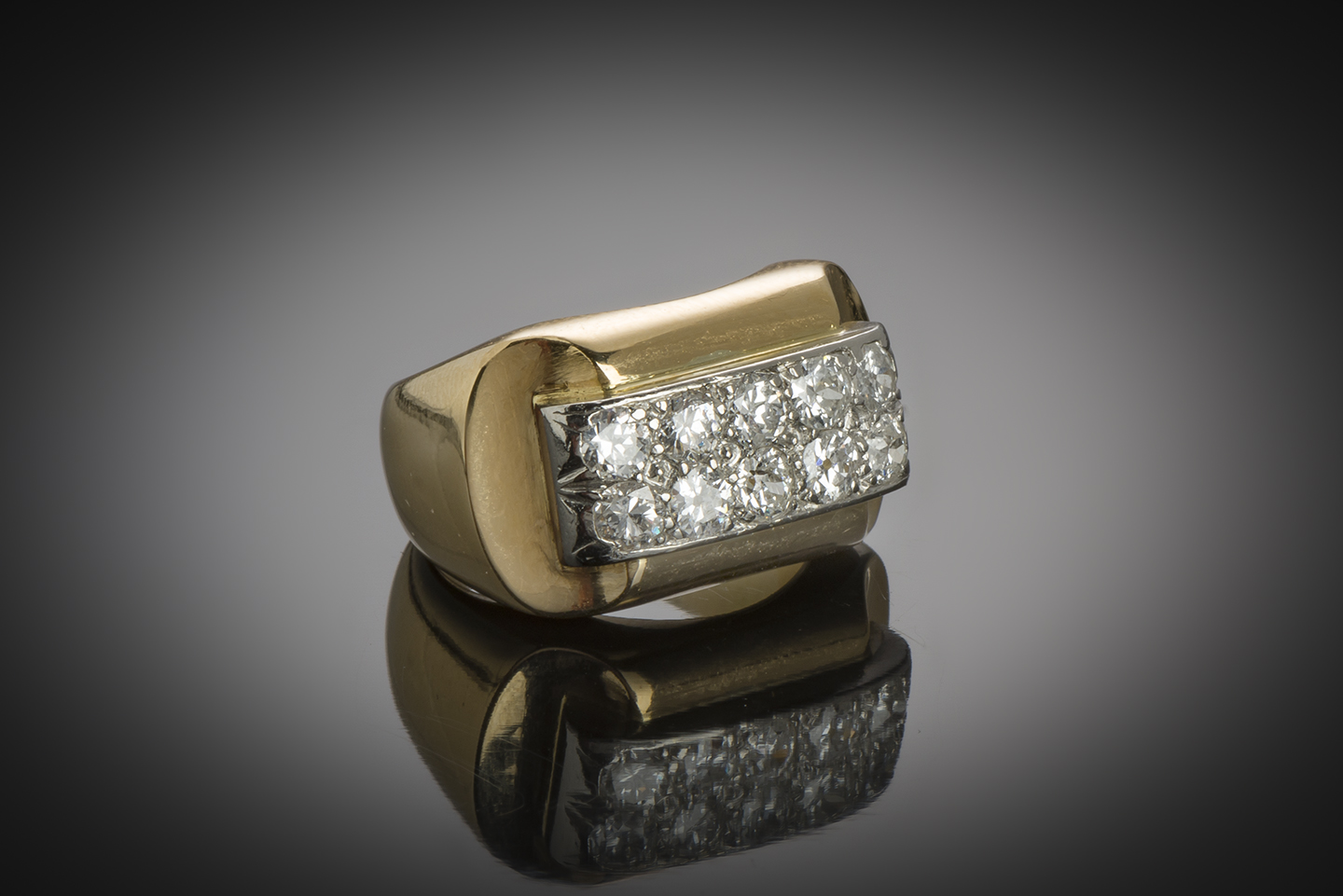 Bague « Tank » diamants (vers 1940)-1