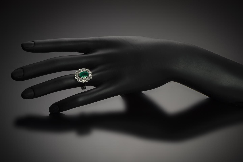 Bague Art Déco émeraude (Colombie) diamants-3