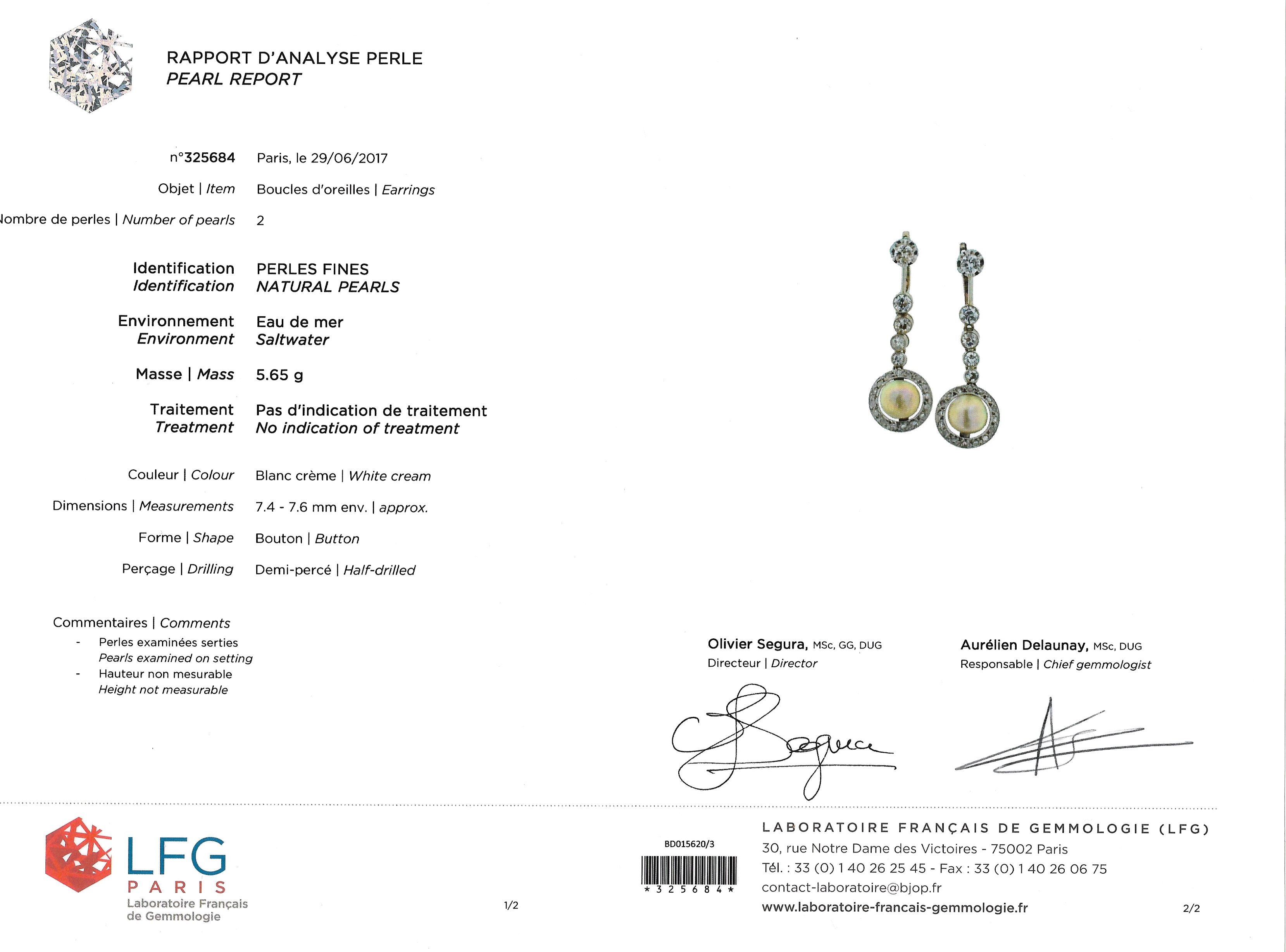 Pendants d'oreilles perles fines diamants Art Déco (certificat LFG)-2